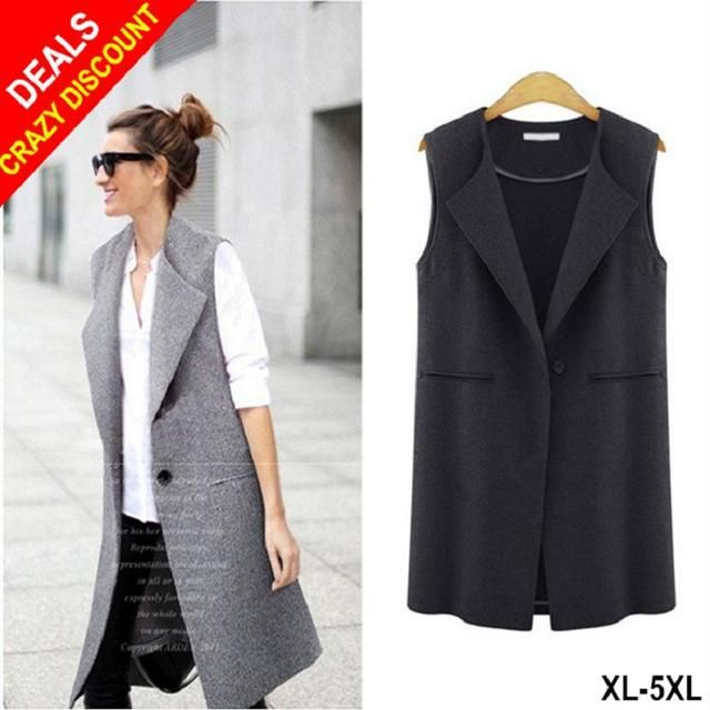 Premium Autumn Fashion Button Vest Women Casual Plus Size 5XL Waistcoat All Match Long Trench Jacket Coat Feminina Black Gilet