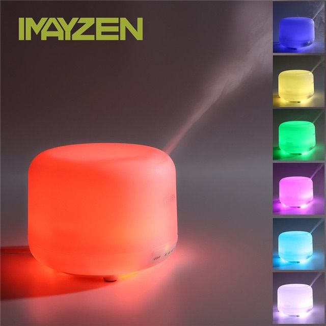 IMAYZEN Newest 7 Color LED Light Ultrasonic Humidifier Mist Maker Portable Electric Air Aromatherapy Diffuser Dry Protecting