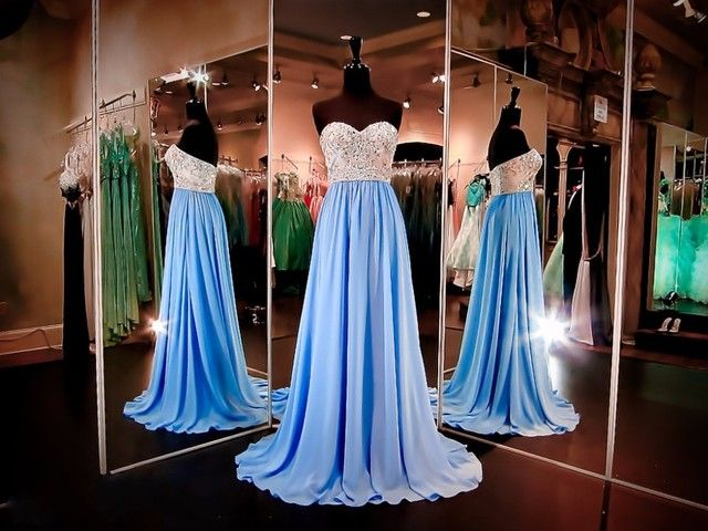 Prom Dresses 2016 Sweetheart Sleeveless  Beading Chiffon A-line Evening Dress Long Party Dress MF317