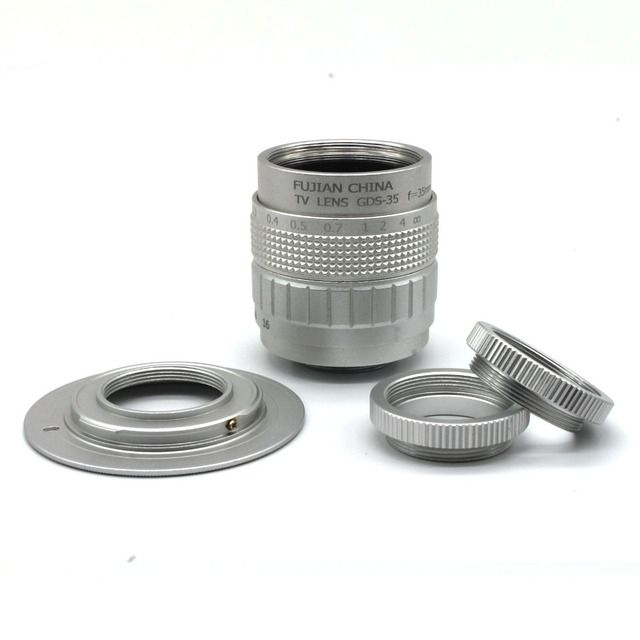 Fujian 35mm f/1.7 CCTV camera lens for M4/3 / MFT Mount Camera & Adapter bundle silver free shipping