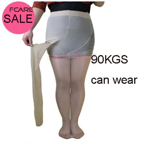 Fcare Large yards thin stockings female pants 100KGS  40D-sided plus size double  crotch wide-body stockings