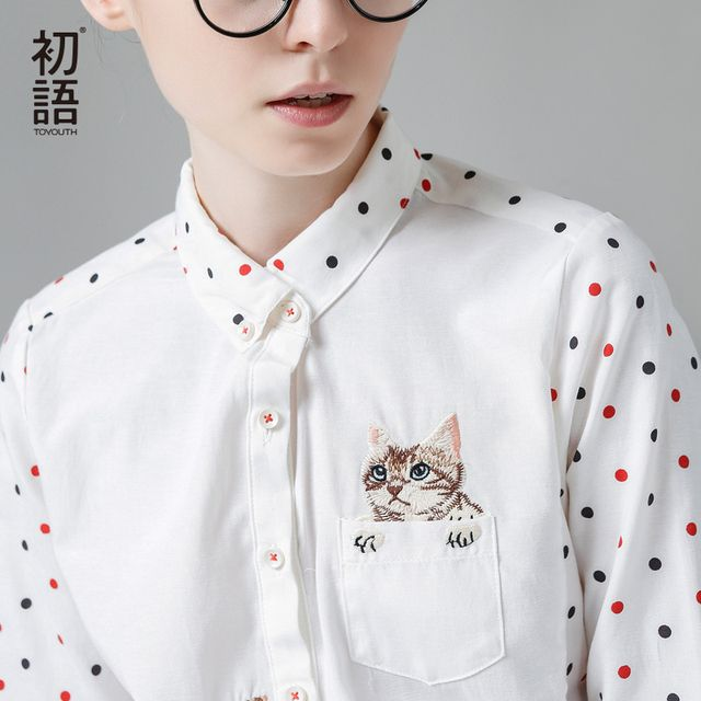 Toyouth Kawaii Embroidered Cat Women Shirts Spring Casual Polka Dot Blouses Turn-Down Collar Long Sleeve Blusas Patchwork Tops