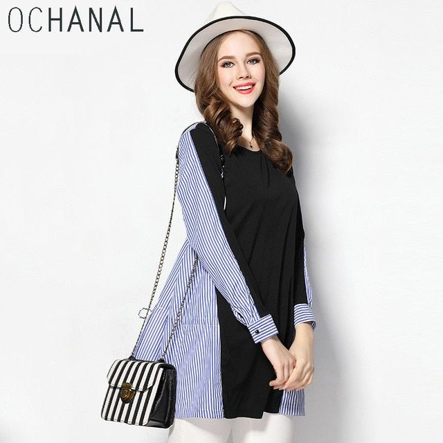 OCHANAL Women Fashion Plus Size Strip Spliced Shirt Tunics Paneled Tops Blouse Blusa Blue xl to 5xl