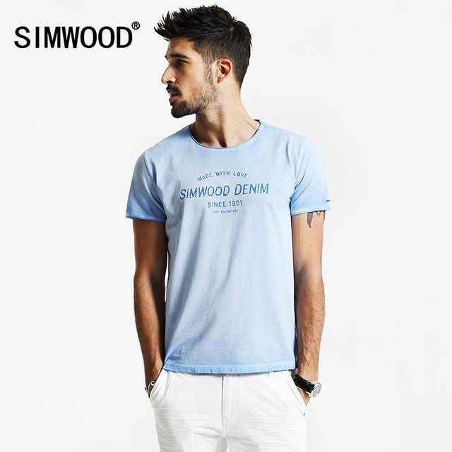 SIMWOOD 2017 Spring Summer New Fashion Vintage T Shirts Men 100% Pure Cotton  Curled  Hem Slim Fit Shorts Sleeve   TD1158