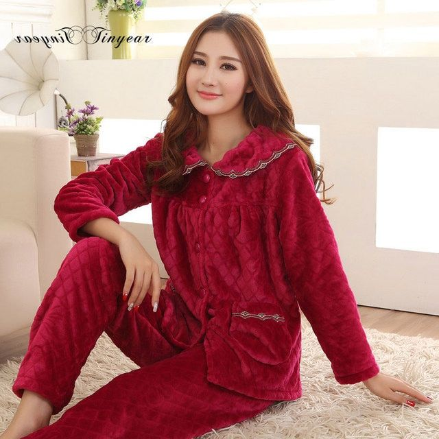 2016 New arrival winter sleepwear women pajamas flannel plus size 100% polyester full sleeve long pants ladies pyjamas