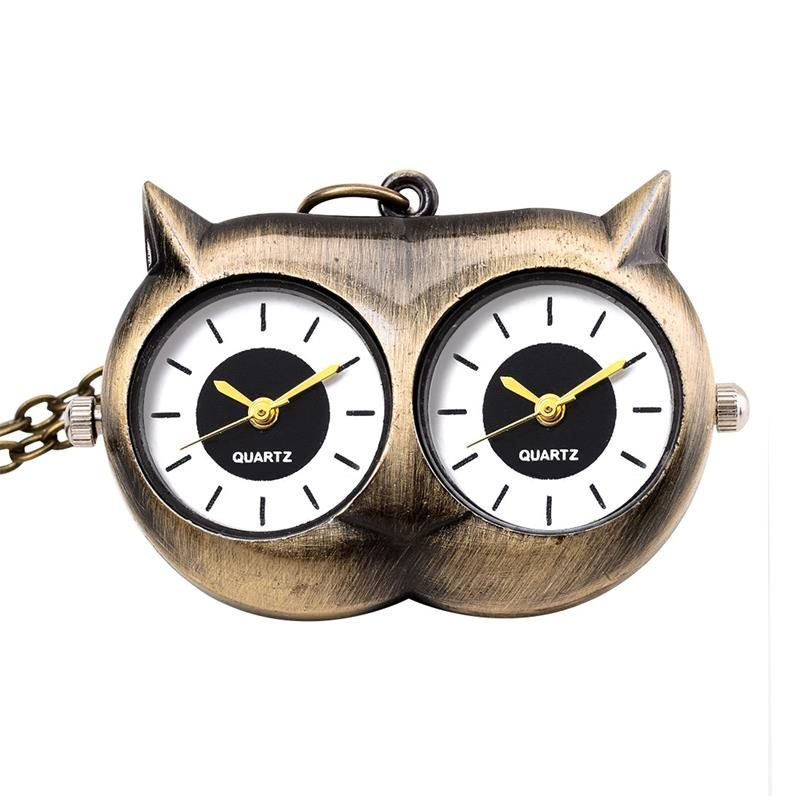 Antique bronze owl eyes pocket watch 2 Quartz Movement Long Chain Unique Watches  jewelry necklace gift accessories for Children