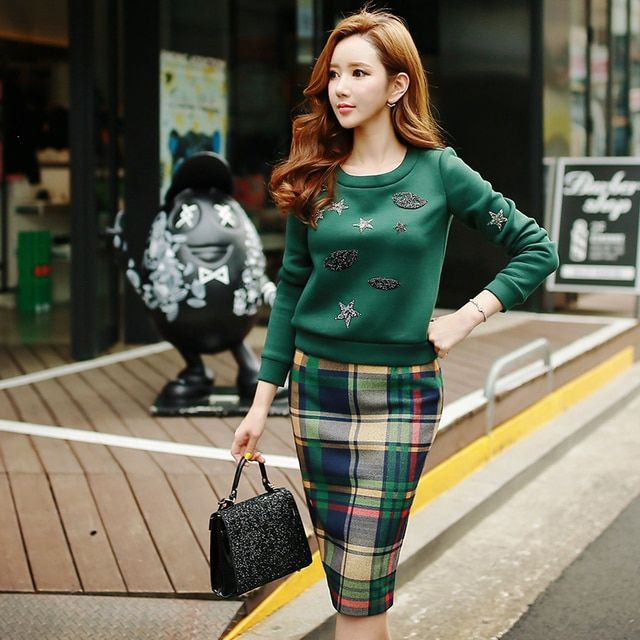Original 2016 Brand Saia Autumn Winter Plus Size Slim Vintage Cute Dark Green Plaid Woolen Women Straight Skirt Wholesale