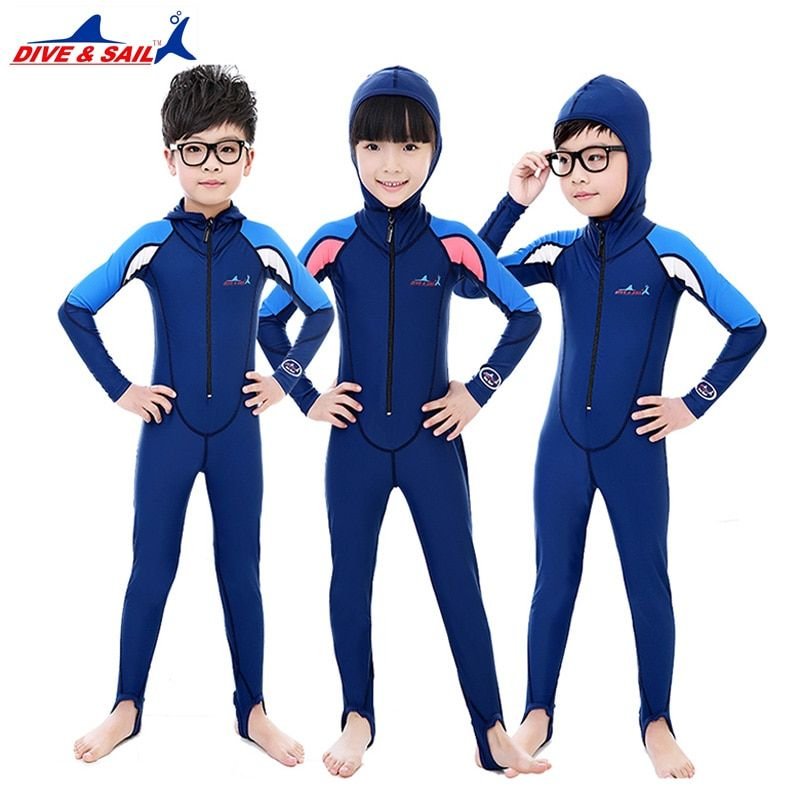 DIVE&SAIL Children rashguard swimwear hooded wetsuits boys girls skin diving wetsuits jumpsuit kids
