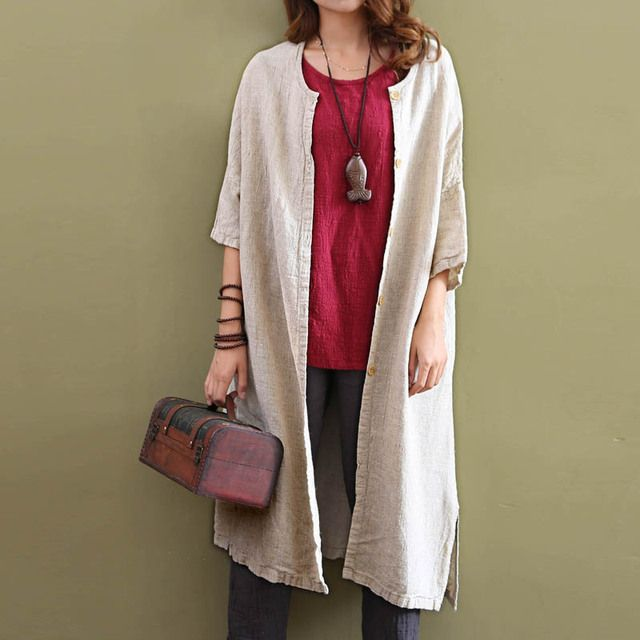 Spring 2017 Solid Color Tops Women Causal Vintage Cotton Linen Shirt Half Sleeve Loose Plus Size Long Irregular Cardigan Shirt