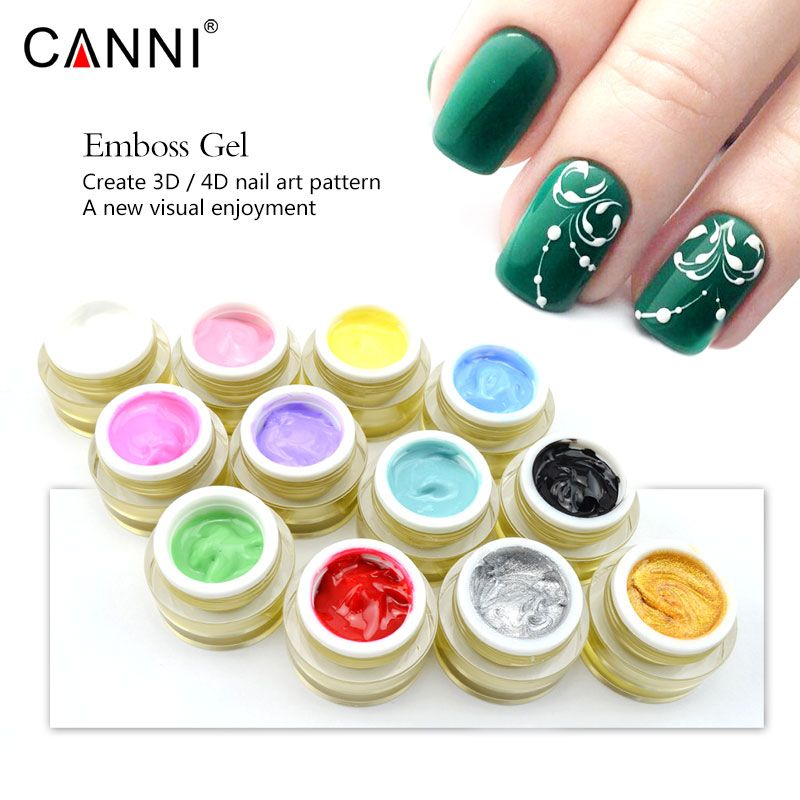 #86113 CANNI Emboss Gel Nail Art 3D Gel 12 Colors Acrylic Carving UV LED Gel Long Lasting Sculpture UV Gel DIY Design Painting