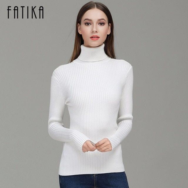 FATIKA 2017 Fashion Women Turtleneck Full Sleeve Brief Slim Pullovers Solid Elegant Knitted Skinny Sweater Jumpers For Ladies