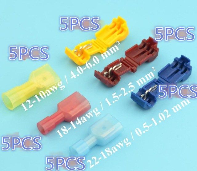 30pcs 15pairs Scotch Lock Quick Splice Wire Connectors Terminals Crimp Electrical Car Audio