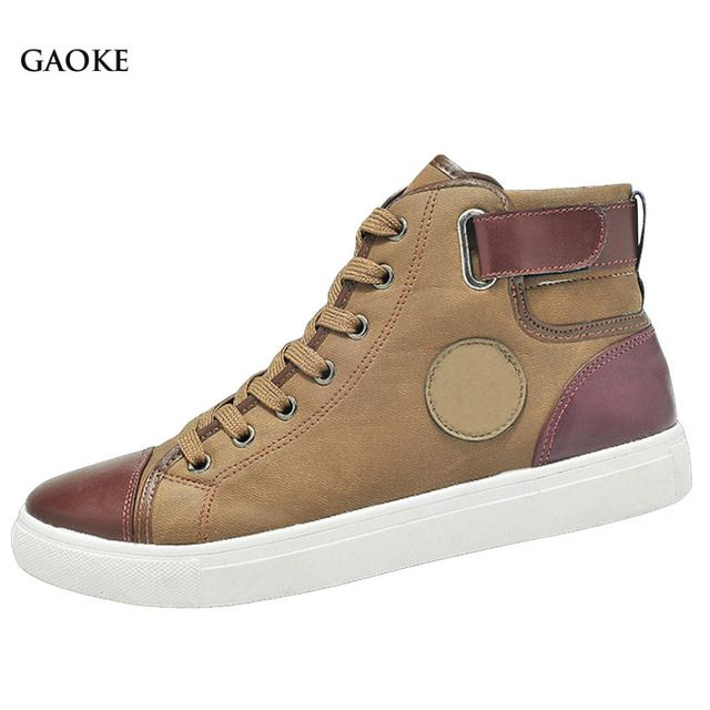 2016 Men Shoes Sapatos Tenis Masculino Male Autumn Winter Front Lace-Up Leather Ankle Boots Shoes Man Casual High Top Canvas Men