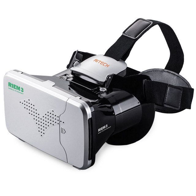 New Arrival RITECH Riem 3 Virtual Reality 3D VR Glasses Head Mounted Headset Private Theater for 3.5 - 6 inches Smartphone