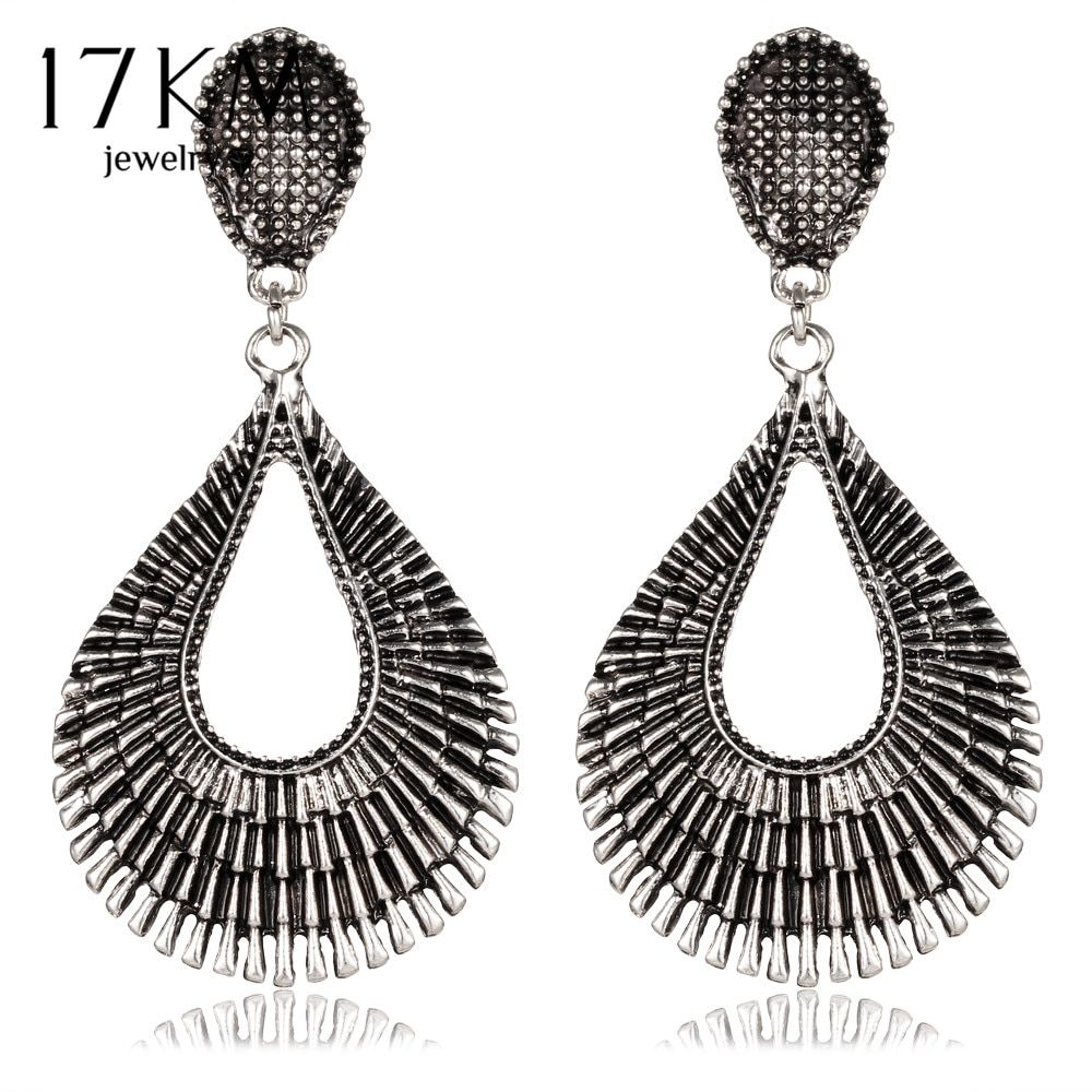 17KM 1Pair Bohemia Tibet Jewelry Retro Flower Pattern Dangle Earrings For Women Water Drop Earring Brincos Pendiente Gift bijoux