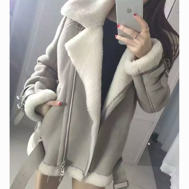 2017 Best Quality Genuine Real Shearling Coat Natural Sheepskin Coat Black Suede Men and women Winter Jacket Thick Real Fur Coat