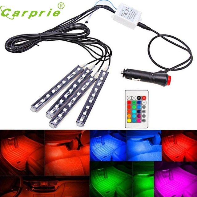 New Arrival 4Pcs 9LED Remote Control Colorful RGB Car Interior Floor Decorative Lights Strip at4