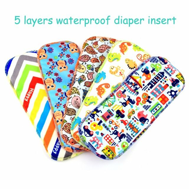 13.5*35cm 5layers reusable baby cloth diaper insert pattern microfiber inserts waterproof