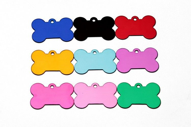 50 pcs/lot Personalized Engraved Pet Blank DIY ID  Bone  Dog Cat Name Charm Tag Dog Cat ID Tags Pendant 10 colors