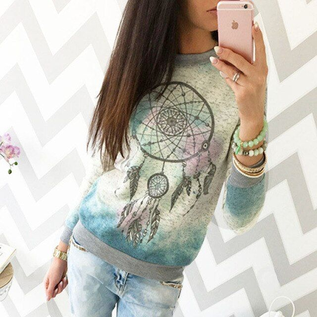 Fashion Autumn Women Floral print long sleeve hoodie sweatshirt Warm Tops Shirt Tee Pullovers 2017 NEW fashion lady loose blouse