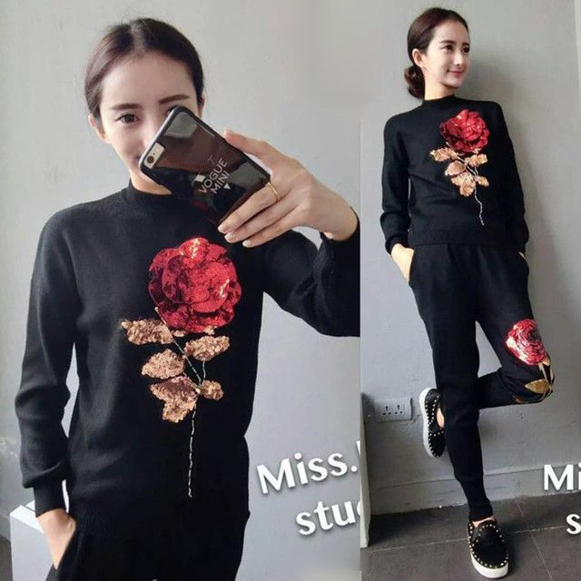 2017 Real Sale Blends Wool Full Embroidery O-neck Crop Top And Skirt Set Female Fashion Set Sequin Rose Two Piece Slim Sweater