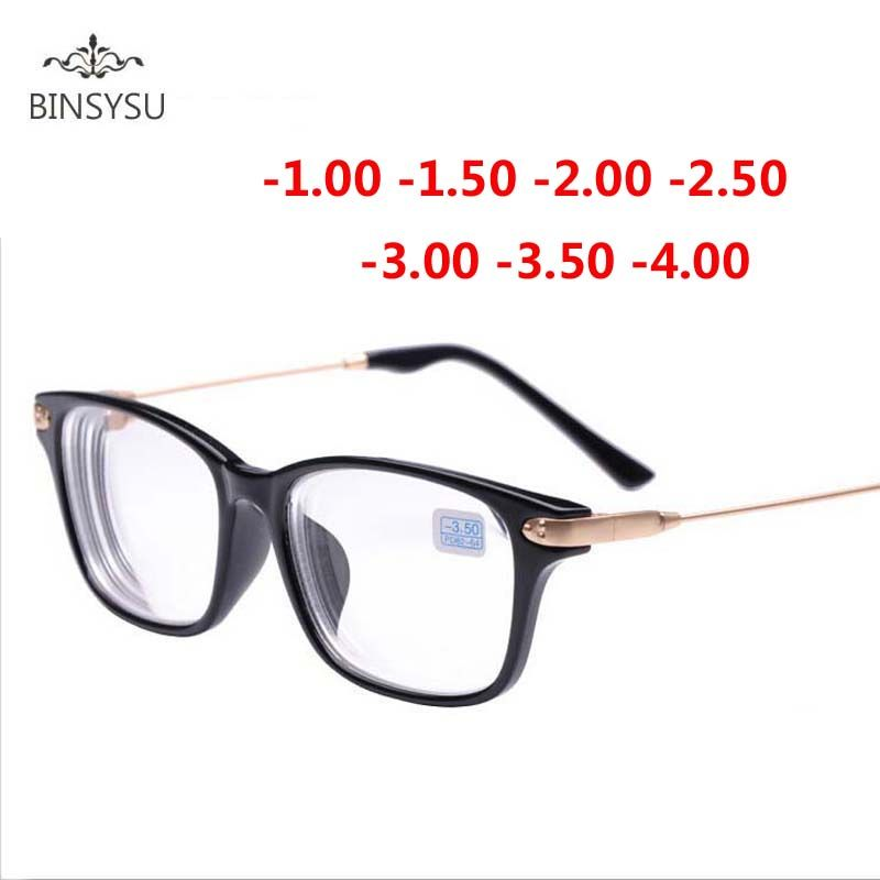 Finished myopia glasses black frame metal gold legs Transparent lens sighted prescription glasses -1 -1.5 -2 -2.5 -3 -3.5 -4