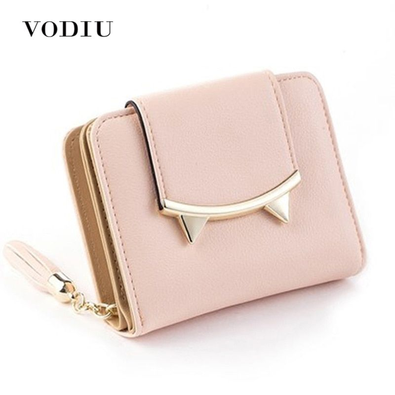 2018 Korean Cute Cat Anime Leather Trifold Slim Mini Wallet Women Small Clutch Female Purse Coin Card Holder Dollar Bag Cuzdan