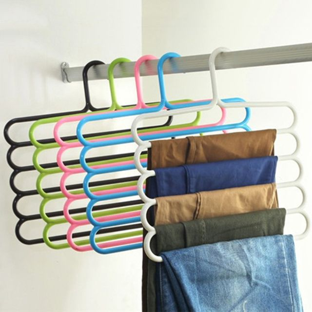 Cloth Hanger Holders For Trousers Towels Clothes Apparel Hangers Five-layer Space Saving