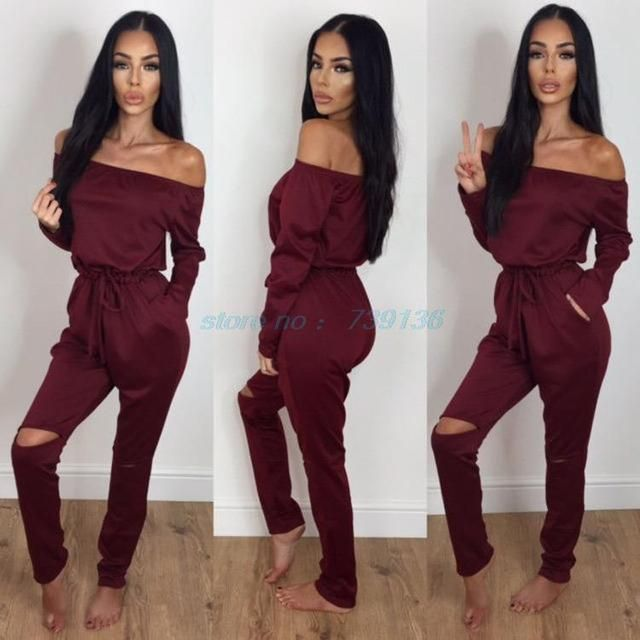 2017 Solid Slash Sexy Strapless Long-sleeved Jumpsuit Trousers Rompers Women's Beach Wear