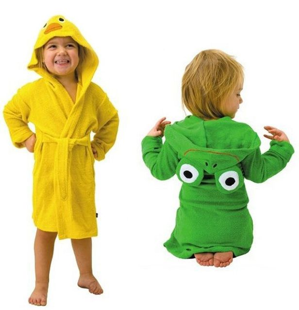 new design Terry Bathrobe Hoodie Hoody Costume Bath Towel Baby Robe Kids Robes  Baby Cartoon Hooded 3styles