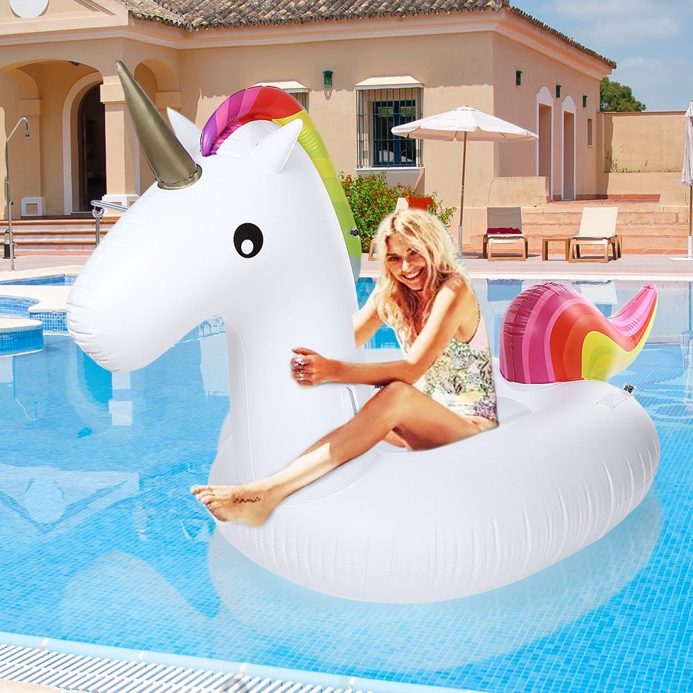 2016 Summer Giant Inflatable Unicorn Air Sofa Air Mattresses Ride-able Floating Swimming Pool Toy Float Raft For Beach Holiday