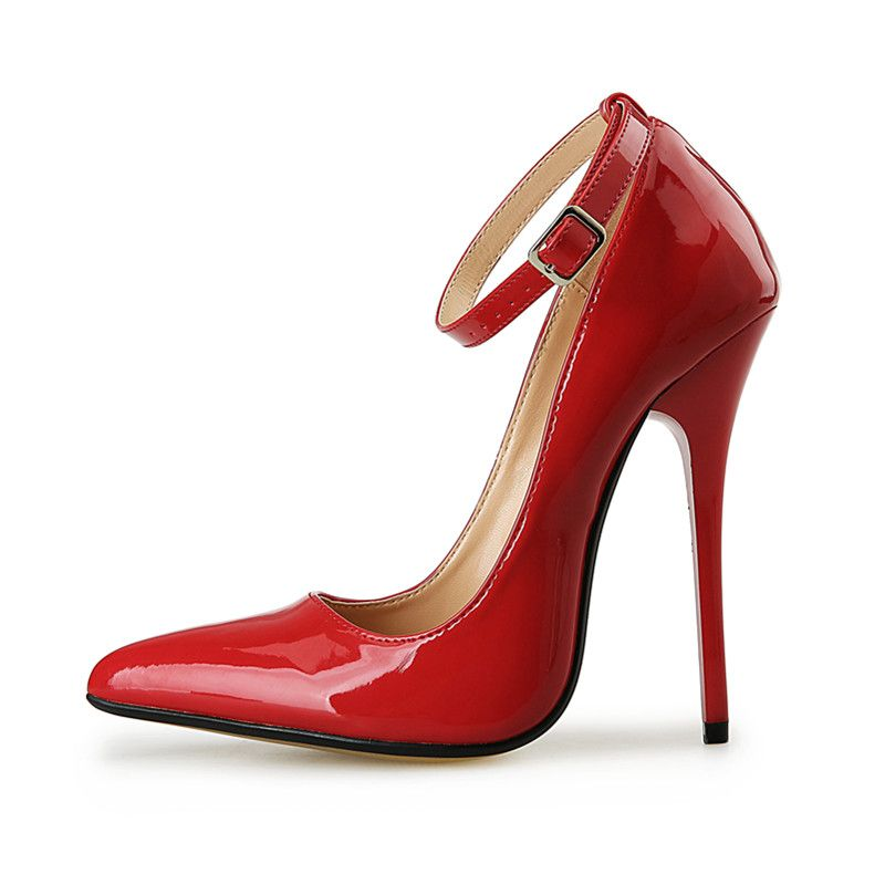 2017 Hot Woman Pumps High Heels Ultra Sexy Fetish High Heels Wedding Party Red Black Women's Genuine Leather Strip Shoes Size 43