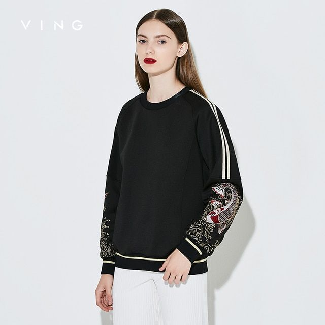 Ving 2017 Women Embroidery Print Sweatshirt  Patchwork O-Neck Sweatshirt Female Fish Pattern Pullover