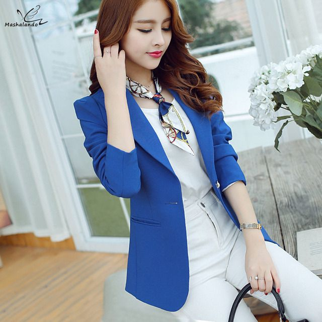 2016 Women Blazer Korean Version Cultivating Wild (Green Blue Black) Long-sleeved Suit Ms. Blazer Femme
