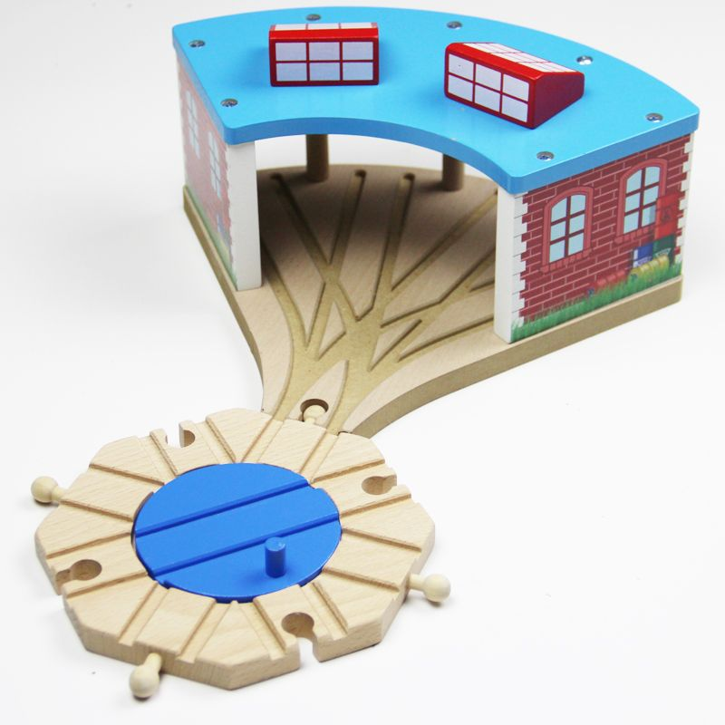EDWONE - Fashion Railway train Track Wooden house parking slot toys for baby Big Train Station Train Rest Room