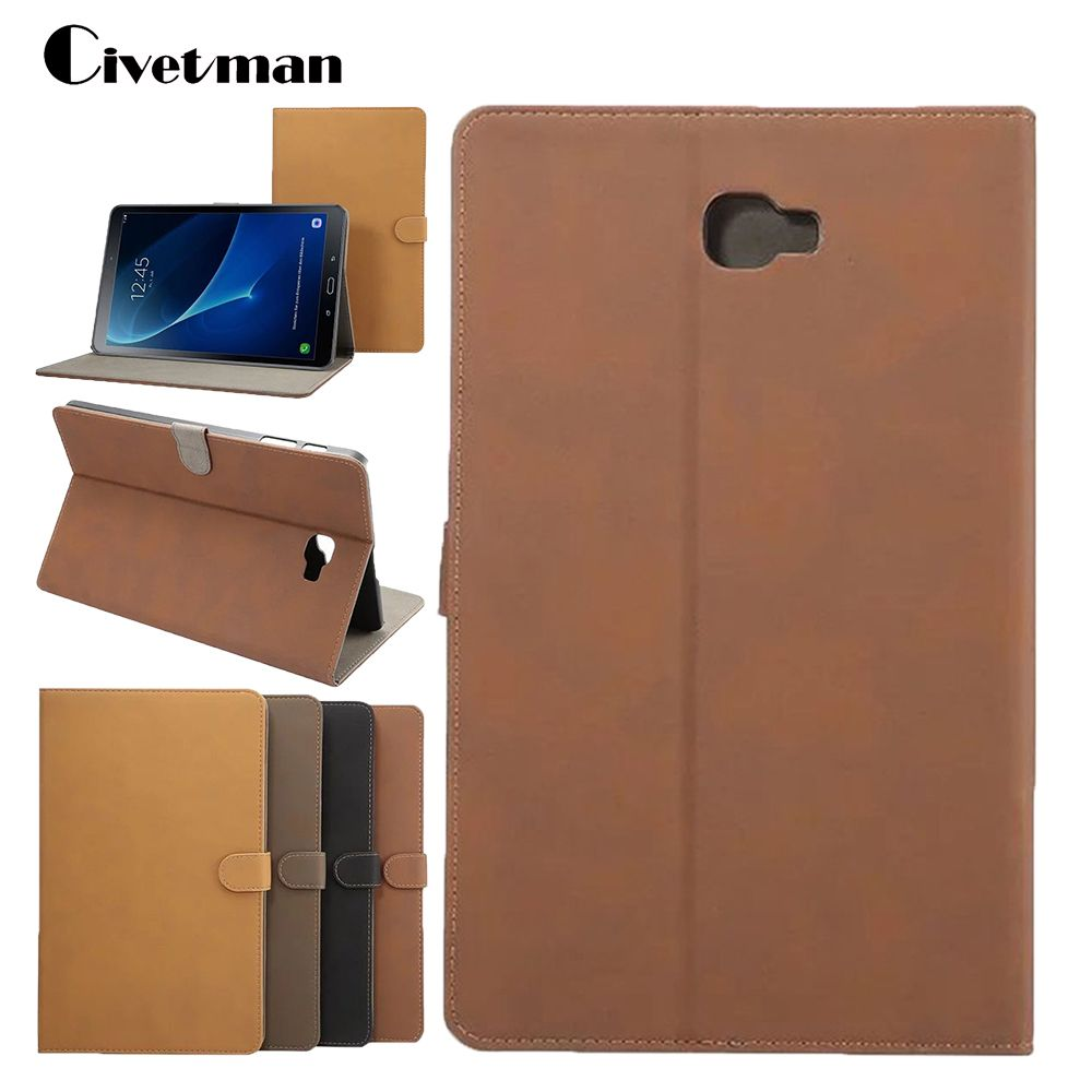 Tablet Case For Samsung Galaxy Tab A 10.1 T580 T585 Retro Matte Smart Leather Cover Shell Case with Stand Wake up/Sleep