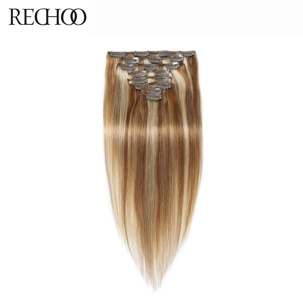 Rechoo Mixed Color Straight #8/613 Brazilian Non-Remy 70g Full Head 7pieces Peruvian Clip In Human Hair Extensions