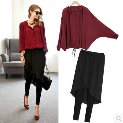 2016 new European casual loose long sleeve chiffon shirts two piece suits divided skirts women clothing suit 2 piece set female