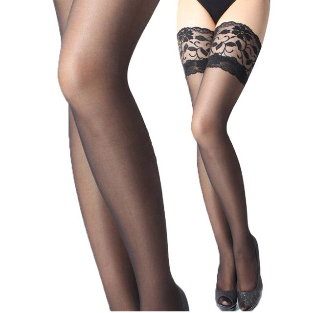 2016 New Spring Style Ultrathin Sexy Women Tights Stockings Lace Top Thigh High Ultra Sheer Knee High Stockings Tights Lingerie