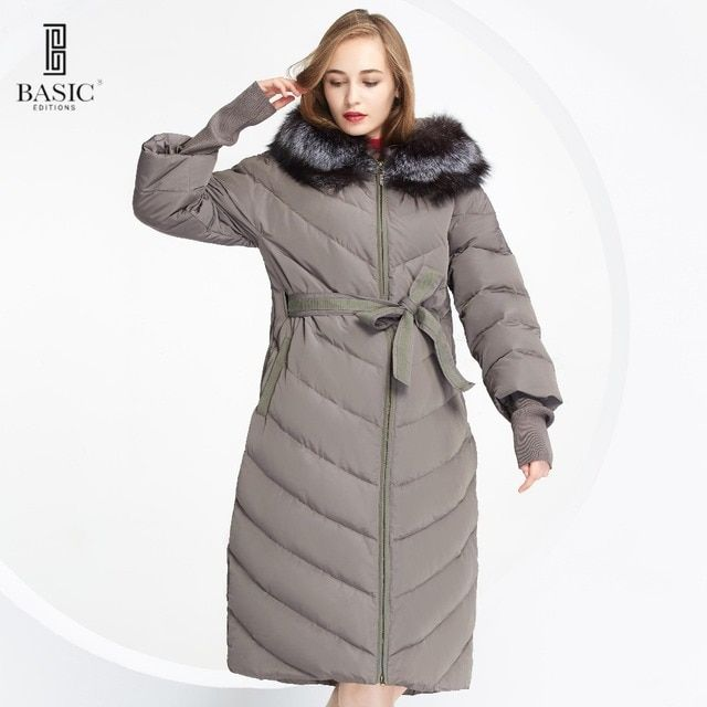 BASIC-EDITIONS New Winter Long Parka Fox Fur Hood Winter Jacket White Duck Down Jackets for Womens Down Jacket wy049