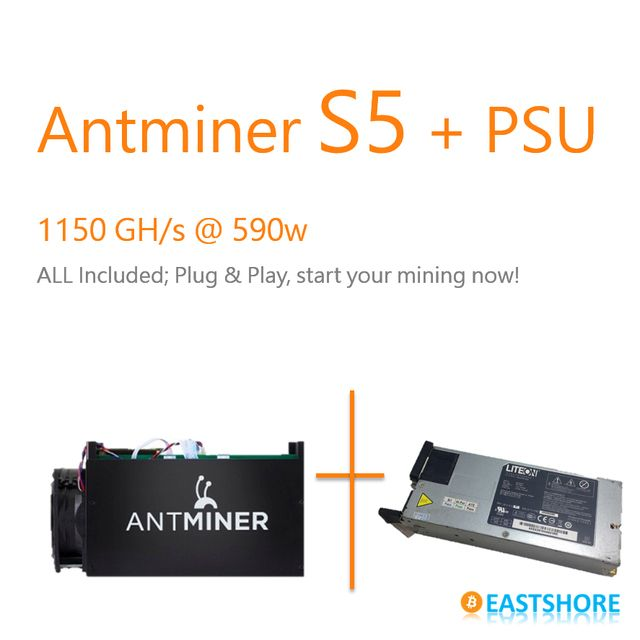 [SOLD OUT] Bitcoin Miner Antminer S5 1TH Asic Miner 1150GH With PSU Included Super Btc Miner Better Than Dragon Miner