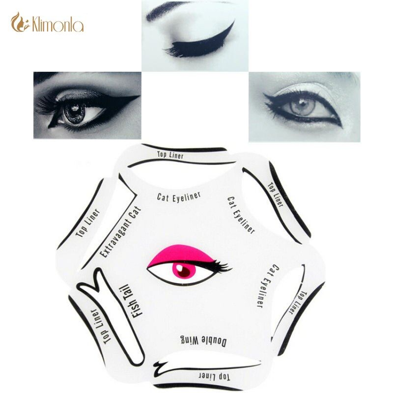 6 in 1 Stencils Eyeliner Template Smoky Makeup Guide Cat Eye Liner Shaper Stencil Quick Model Makeup For Eyebow Beauty Tool