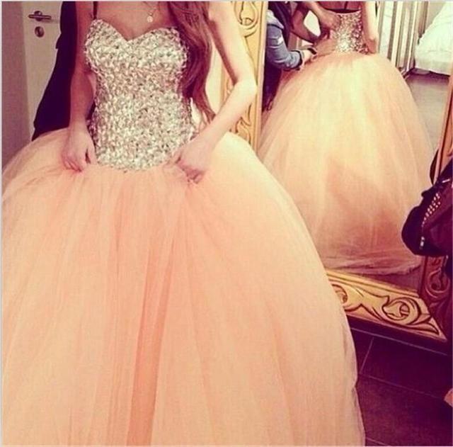 Coral Tulle Ball Gown quinceanera Dresses for 15 Years Sweetheart Rhinestone Crystal  Floor Length Pink Tulle Bridal Gowns