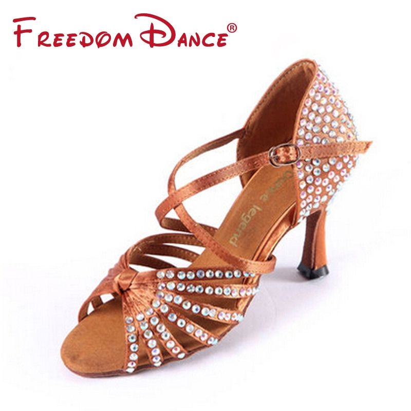 High Quality Satin Upper Rhinestones Coverd High Heeled Women's Latin Dance Shoes Ballroom Tango Dancing Shoe Dark Tan Black