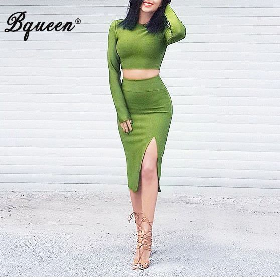 Bqueen 2017 New Arrival Long Sleeve Split Midi Knee Length Two Piece Sets Bandage Dress