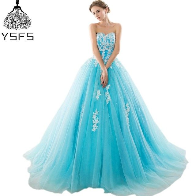 In Stock Cheap Long Ball Gown Tulle Quinceanera Dresses Sweetheart With Lace Appliques Party Prom Gown Lace Up Back