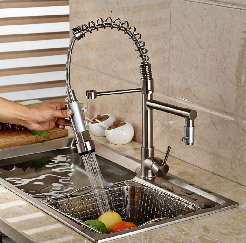 Nickel Brushed Pre-rise Pull Down Dual Spout Kitchen Vessel Sink  Faucet Mixer Tap Hot and Cold Water Tap Deck Mounted