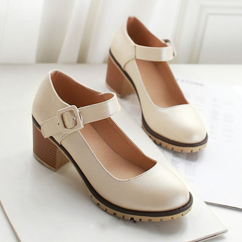 Meotina Shoes Women Round Toe Spring Pumps Chunky High Heels Mary Jane Causal Ladies Shoes Thick Heels White Beige Black 34-43