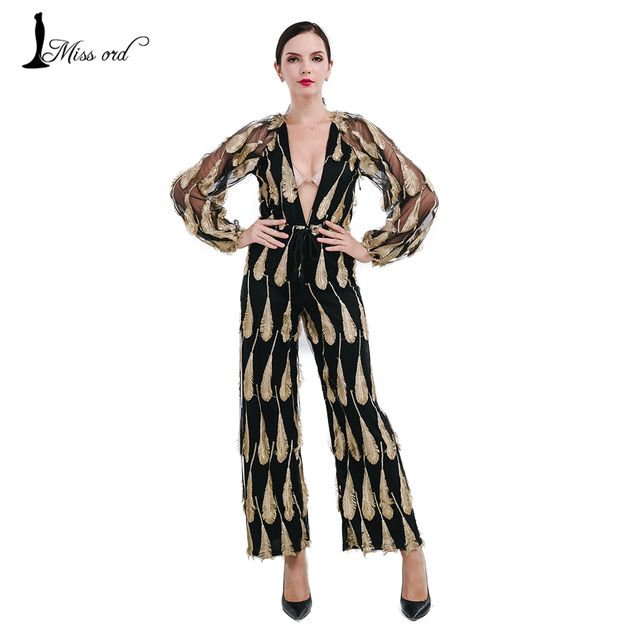 Missord 2016 Sexy  Deep-V long sleeve feather  jumpsuits FT4727