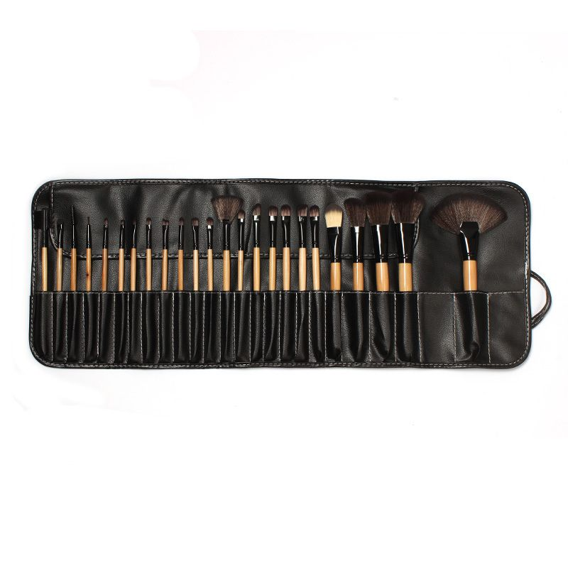 24PCS makeup brushes professional kabuki brush Natural Wood hand to make up kit de pinceis de maquiagen face care with PU bag